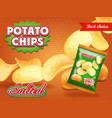 potato chips classic package design vector image vector image