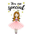 princess is cuddeling yourself you are special vector image vector image