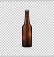 realistic brown glass beer bottle isolated object vector image vector image