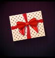 realistic gift box with red ribbon vector image vector image