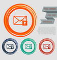 secret mail icon on the red blue green orange vector image vector image