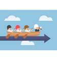 Senior businessman with his team rowing to success vector image vector image