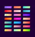 set 21 colorful buttons with gradients on dark vector image