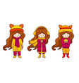 set of brunette girls wearing autumn coats hats vector image