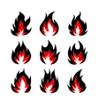 Set of fire symbols vector image vector image