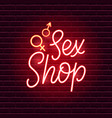 sex shop neon sign vector image vector image