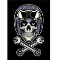 skull wearing vintage motorcycle helmet vector image vector image
