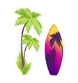surfing board and palm tree vector image vector image