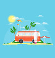 surfing bus with a surfing vector image vector image