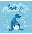 thank you cute card with cartoon baseal vector image