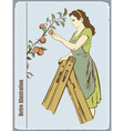 The woman gathers apples vector image