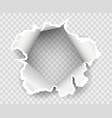 transparent paper rip hole vector image