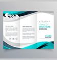 trifold brochure design with beautiful blue and vector image vector image