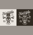 vintage custom motorcycle print vector image vector image