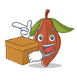 with box cacao bean character cartoon vector image vector image