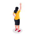 woman hand up icon isometric style vector image vector image