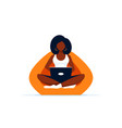 young black woman with laptop sitting in chair bag vector image