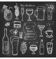 Alcohol and drinks cocktails menu on black board vector image