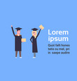 happy girl and boy students in graduation cap and vector image