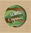 100 organic green food product papercut label vector image