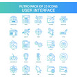 25 green and blue futuro user interface icon pack vector image vector image