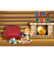A girl fixing her books near the fireplace vector image vector image