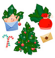 a pig with develop bag fir branches christmas vector image vector image