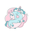 adorable unicorn sleeping on cloud line icon with vector image vector image