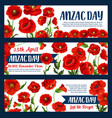 anzac day 25 april poppy greeting banners vector image vector image