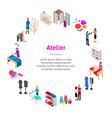 atelier studio concept banner card circle 3d vector image vector image