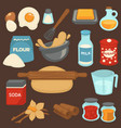 baking ingredients and tools for bread and pastry vector image