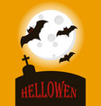 bats flying on full moon happy halloween vector image