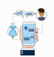 business man communicating with chatbot using vector image