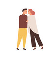cuddling couple flat vector image vector image