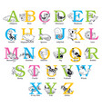 cute animal alphabet vector image