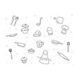 cute chef and cooking kitchen equipment doodle vector image