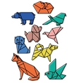 cute origami animals pets set with dark lines and vector image vector image