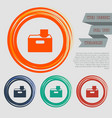 download to hdd icon on the red blue green orange vector image vector image