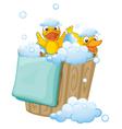 duckling in a foam bucket vector image vector image