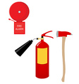 Fire extinguisher alarm bell and axe vector image