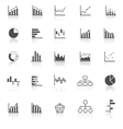 Graph icons with reflect on white background vector image vector image