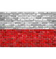 Grunge flag of Poland on a brick wall vector image vector image