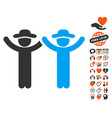 hands up gentlemen icon with lovely bonus vector image vector image