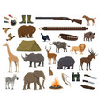 hunting sport weapon wild animals and bird icons vector image vector image