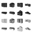 isolated object facade and housing icon set vector image vector image