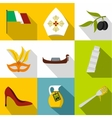 Italy icons set flat style vector image vector image