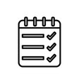 list check mark notepad spiral icon thick line vector image
