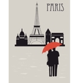 Man and woman with umbrella in Paris vector image vector image