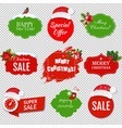 merry christmas labels set isolated transparent vector image vector image