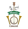 Music concert emblem with clef notes vector image